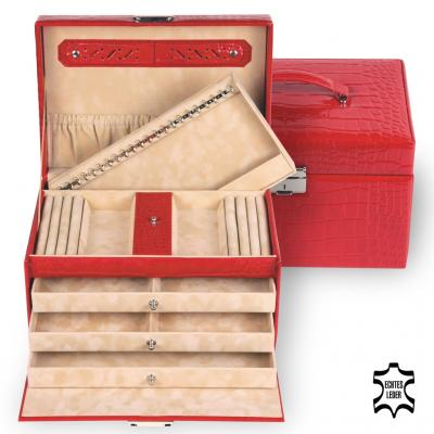 jewellery case Julia, leather, red, crocodile