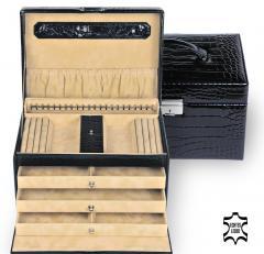 jewellery case Julia/ black (leather)