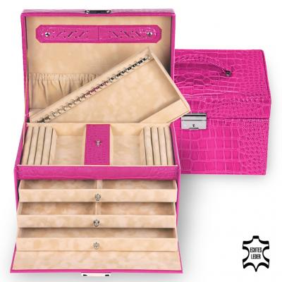 *While stock lasts* jewellery case Julia, leather, pink, crocodile