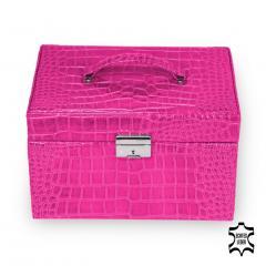 *While stock lasts* jewellery case Julia, leather, pink, crocodile