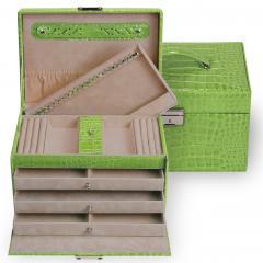 jewellery case Julia, leather, apple, crocodile