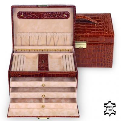 jewellery case Julia/ brown (leather)