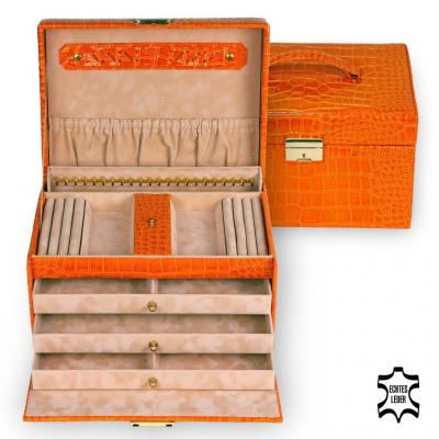 jewellery case Julia/ orange (leather)