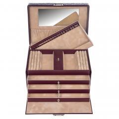 jewellery case Julia, leather, bordeaux, ornamento