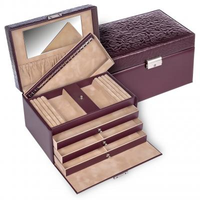 jewellery case Julia, leather, bordeaux, ornamento