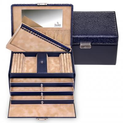 jewellery case Julia/ navy (real leather)