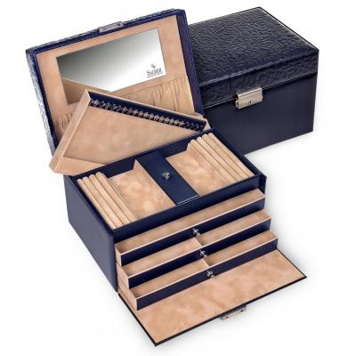 jewellery case Julia, leather | navy | ornamento