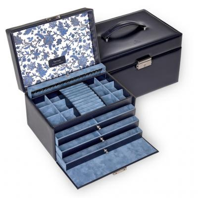 jewellery case Jasmin, leather, navy, florage