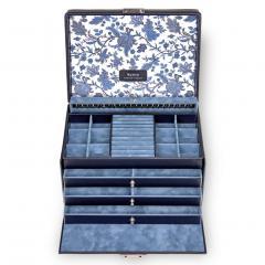 jewellery case Jasmin, leather, navy, florage
