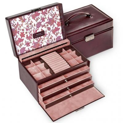jewellery case Jasmin, bordeaux, florage
