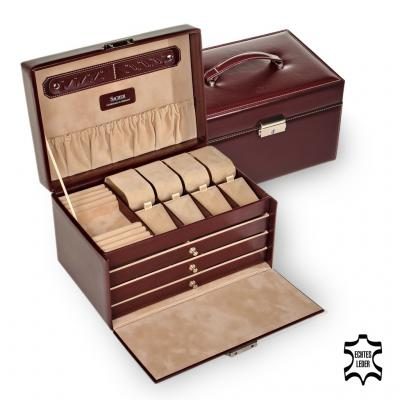 jewellery case Katja, leather, bordeaux, new classic