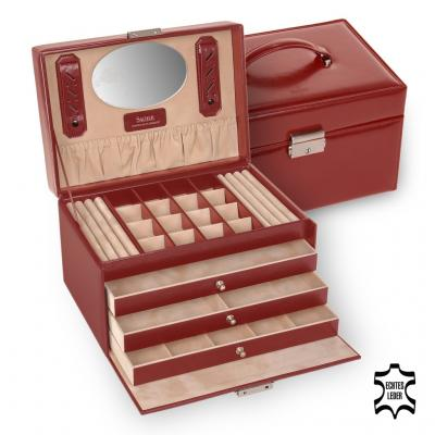 jewellery case Lena/ red (leather)