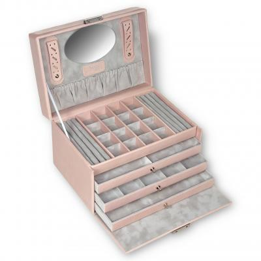 jewellery case Lena, leather, rose, pastello