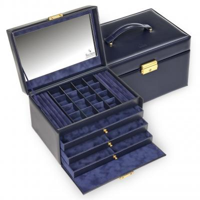 jewellery case Lena, leather, navy, acuro
