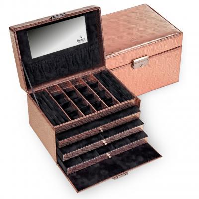 jewellery case Lena, rose gold, lagarto