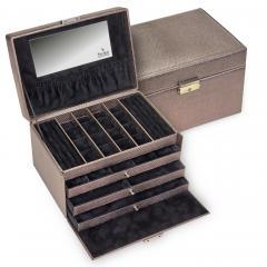 jewellery case Lena, taupe, lagarto