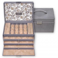 jewellery case Lena, leather, grey, fleur venice