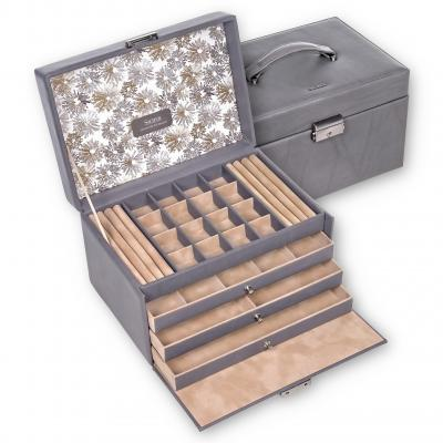 jewellery case Lena, leather, grey, fleur venice