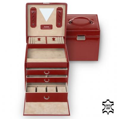 *While stock lasts* jewellery case Lisa, leather | red | new classic
