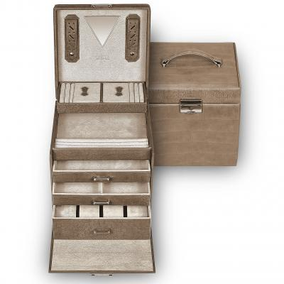 *While stock lasts* jewellery case Lisa, cowhide-leather | grey | nature missouri