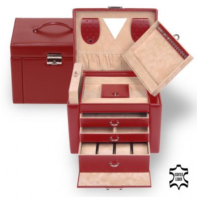 jewellery case Maxima, leather, red, new classic