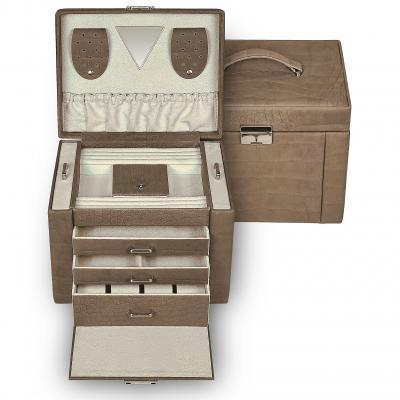 jewellery case Maxima, cowhide-leather | grey | nature missouri
