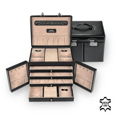 jewellery case incl. travel box Mona/ black (leather)