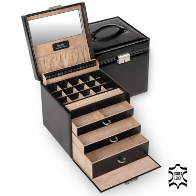 jewellery case Lotta/ black (leather)