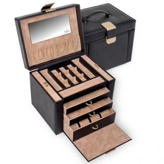 jewellery box Marta, black, saffiano