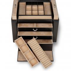 jewellery box Marta, leather, black, new classic