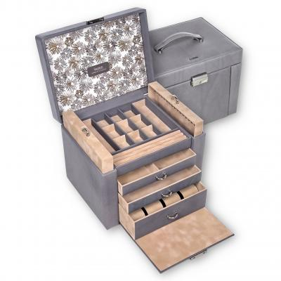 jewellery box Marta, leather, grey, fleur venice