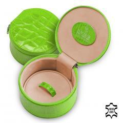 jewellery box Betsy, leather, apple, crocodile