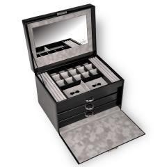 jewellery case Victoria, leather, black, new classic