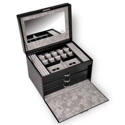 jewellery case for rings Victoria, leather, black, new classic
