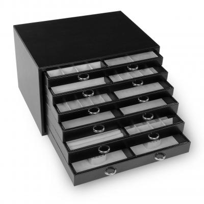jewellery chest Grand VARIO, leather | black | vario