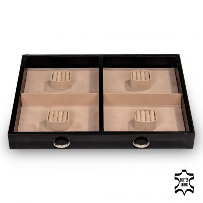 jewellery chest Grand VARIO, leather, black, vario