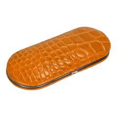 5 pcs. manicure set, leather, orange, Maniküren