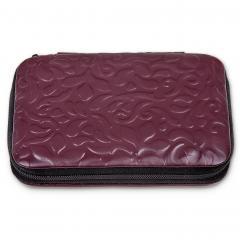 7 pcs. manicure set, leather, bordeaux, ornamento
